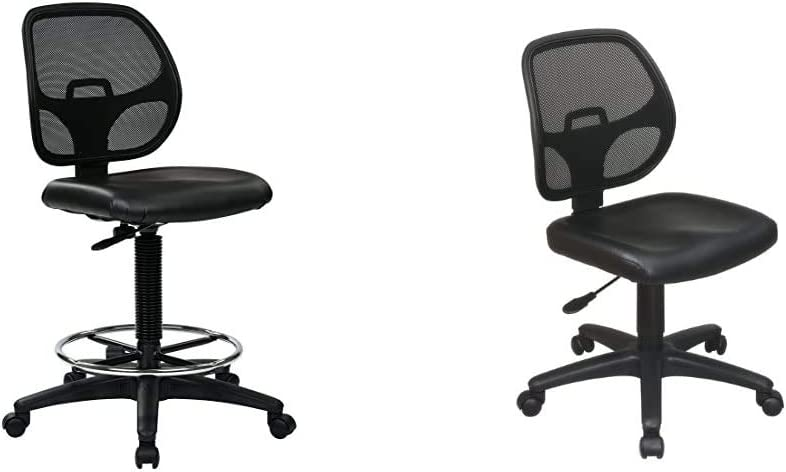Office Star Deluxe Vinyl Seat and Mesh Back Drafting Chair with 20-inch Diameter Adjustable Footring, Black & Mesh Screen Back Armless Task Chair with Padded Vinly Seat, Black