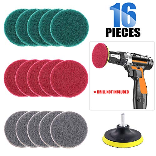 Glarks 16Pcs 4 Inch Drill Power Brush Tile Scrubber Scouring Pads Cleaning Kit with 4 Inch Disc Pad Holder for Bathroom & Kitchen Cleaning, 3 Different Stiffness (Red, Gray, Green)