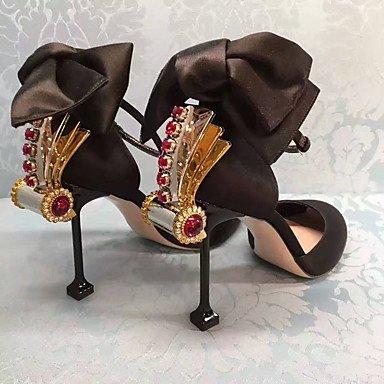 Talones de las mujeres Primavera Verano Otoño Club de zapatos de seda fiesta y noche del vestido ocasional de tacón de aguja del Bowknot del Rhinestone Rosa Negro Black