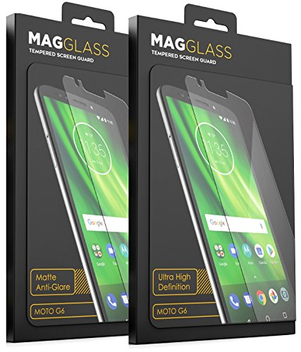 [2 Pack] Tempered Glass Moto G6 Screen Protector, MagGlass (1x) Crystal Clear HD Tempered Screen Guard, (1x) Anti Glare Matte Glass Screen Protection (for 2018 Motorola MotoG6)