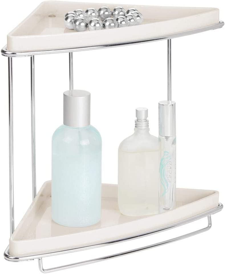 mDesign Metal 2-Tier Corner Storage Organizing Caddy Stand for Bathroom Vanity Countertops, Shelving or Under Sink - Free Standing, 2 Shelves - Cream/Chrome