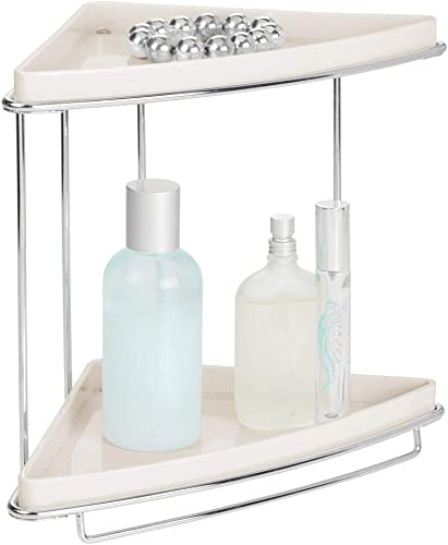 mDesign Metal 2-Tier Corner Storage Organizing Caddy Stand for Bathroom Vanity Countertops, Shelving or Under Sink – Free Standing, 2 Shelves – Cream Chrome