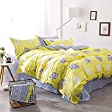 TheFit Paisley Bedding for Adult U89 Yellow and Floral Duvet Cover Set 100% Cotton, Queen Set, 4 Pieces
