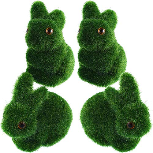 meekoo Easter Turf Grass Rabbit Artificial Moss Bunny Flocked Animal Figurines Ornament for Home Garden Yard Office Decoration (4, Style Set 3)