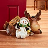 Christmas Decorations – Christmas Reindeer and Snowman Snowflake Slumber Statue – Holiday Decor