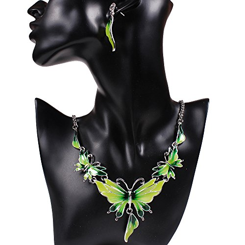 SDLM Acrylic Butterfly Costume Jewelry Charm Pendant Collar Necklace Stud Earrings Set(g) - Posh And Beckham Costume