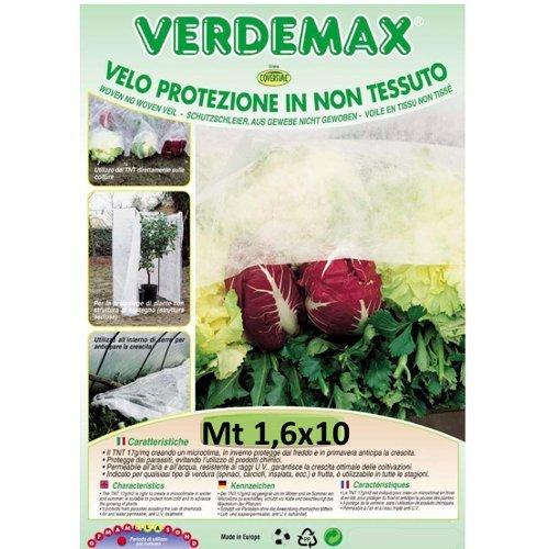 Verdemax 675117g/mq 1,6x 10m tessuto non tessuto protettivo Rotolo di rete, colore: bianco