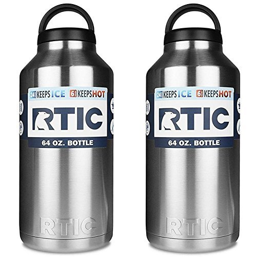 RTIC 64oz Bottle Each (PACK OF 2) .Stainless Steel, Double Wall Vacuum insulated. Air Tight Seal/No Sweat Exterior/18/8 Stainless Steel by RTIC