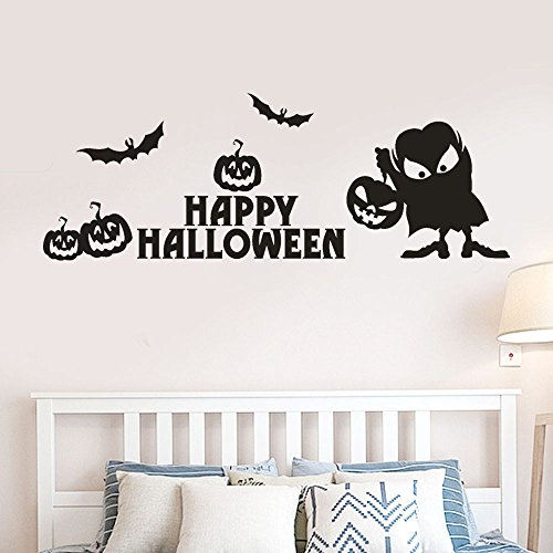 OTTATAT Wall Stickers for Girls 2019,Happy Halloween Pumpkin Bone Window Home Decoration Decal Decor Easy to Stick Independence Day BeachGift for boy Free Deliver
