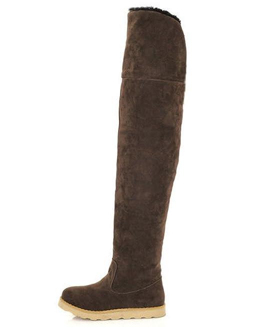 Minetom Mujer Otoño Invierno Calentar Botas De Nieve Moda Botas Plataforma Zapatos Planos Café EU 37: Amazon.es: Ropa y accesorios