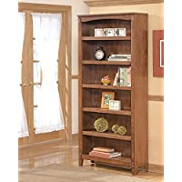 "Ashley Cross Island H319-17 75"" Large Bookcase Including 6 Shelves with Distressed Detailing Bottom Shelf and Apron in Medium"