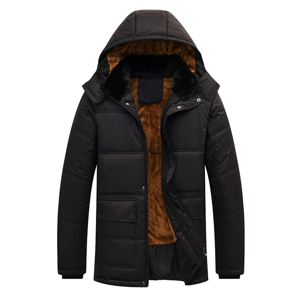 Mens Winter Coats,Men Winter Hooded Thick Fleece Coat Outwear Wind Jacket,Coats for Men(3XL,Black)