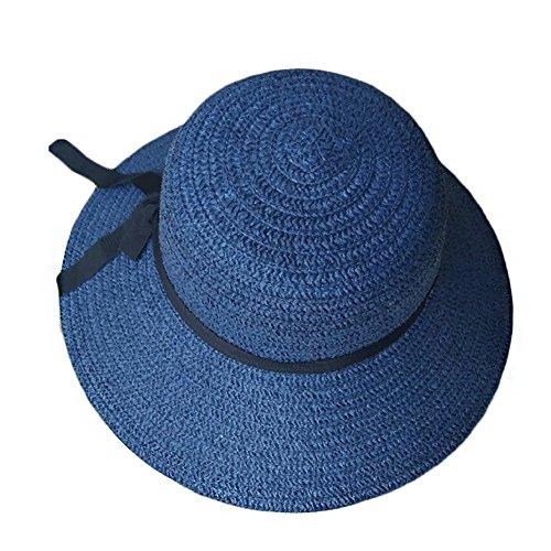 Women's Sun Beach Straw Hats Wide Brim Foldable Kaimao Floppy Summer Cap 58CM - Blue ()