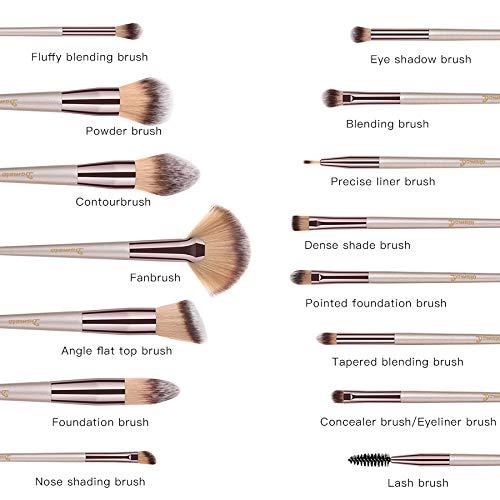 Brochas de Maquillaje, 15pcs Maquillaje Profesional Pinceles Maquillaje de Ojos, Rubor, Contorno, Corrector, Pinceles Cosméticos, Pincel Cosmético ...