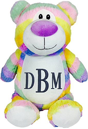 Personalized Stuffed Pastel Rainbow Bear with Embroidered Roman Monogram - Roman Pastel