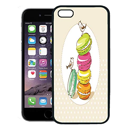 Semtomn Phone Case for iPhone 8 Plus case,Colorful Vintage Birds and French Dessert Macarons Cake Party Recipe iPhone 7 Plus case Cover,Black