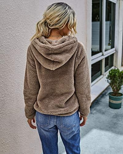 KIRUNDO 2020 Winter Women's Fleece Hoodies Sweatshirts Long Sleeves Shaggy Pullovers with Pockets Short Tops