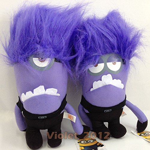 L 2X Despicable Me 2 Plush Evil Minion Character Soft Toy Stuffed Doll Purple 10