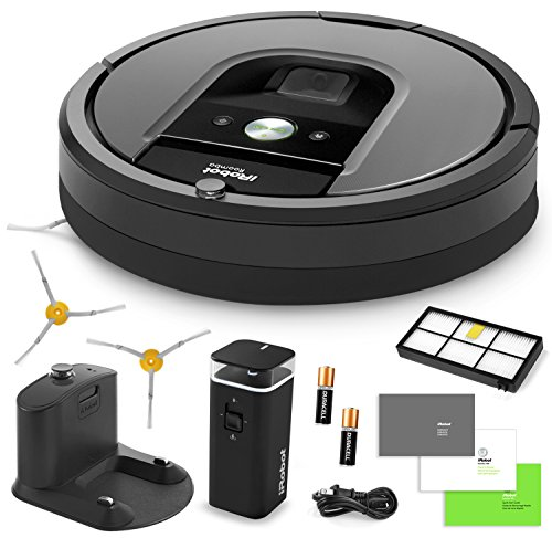 iRobot Roomba 960 Vacuum Cleaning Robot + Dual Mode Virtual Wall Barriers (With Batteries) + Extra High Efficiency Filter + Extra Sidebrush + More by iRobot