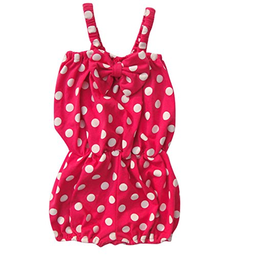 [Unique Baby Girls Polka Dot Romper 2-3 Years Hot Pink] (Vintage Paisley Print Costumes)