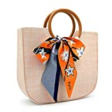 Straw Bags for Women Straw Purse Wooden Ring Tote Crossbody Straw Handbag With Leather Strap (Khaki)