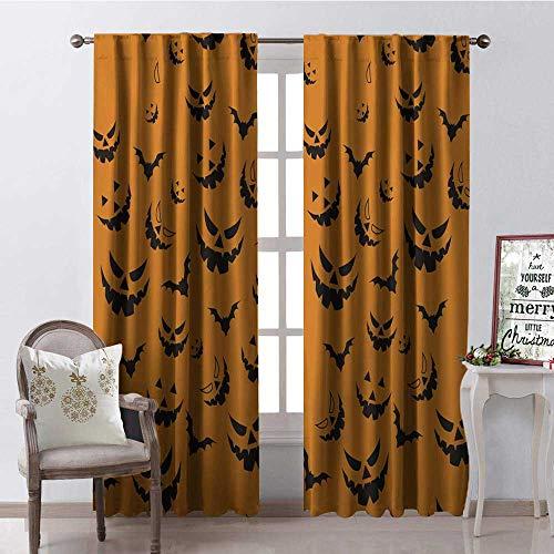 Hengshu Halloween Black Evil Bat 9 Room Darkening Wide Curtains Waterproof Window Curtain W108 x L84