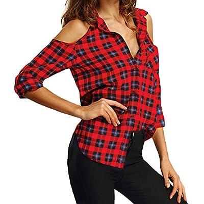 Lisli Women Sexy Cold Shoulder Long Sleeve Plaid Checker Button Down Shirt Tops Blouse
