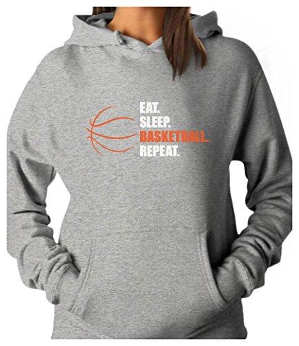 TeeStars - Eat Sleep Basketball Repeat - Gift for Basketball Fans Women Hoodie Small Gray