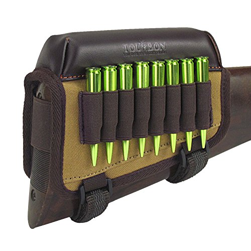 - TOURBON Hunting Gun Buttstock Cheek Rest Pad Rifle Ammo Holder Right Hand - Canvas and Leather