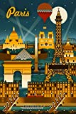 Paris, France - Retro Skyline (9x12 Art Print, Wall Decor Travel Poster)