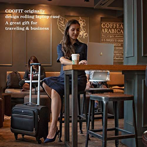 Rolling Laptop Case, COOFIT Nylon Rolling Laptop Briefcase Roller Laptop Bag by COOFIT (Image #1)