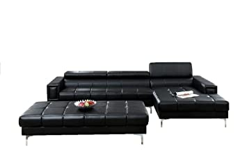 modern bonded leather sectional sofa with oversize ottoman black