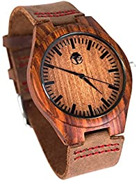 Viable Harvest - Men's Wood Watch - Wooden Bamboo Dial - Sandalwood Bezel - Genuine Leather - Gift box