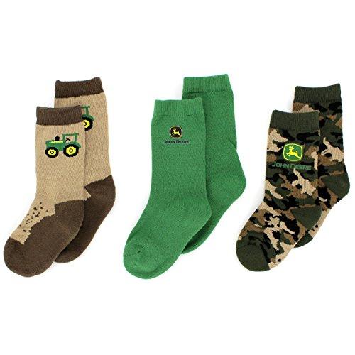 John Deere Boys 3 pack Socks Set (7-9 (Shoe: 11-3), Camo/Khaki/Green)