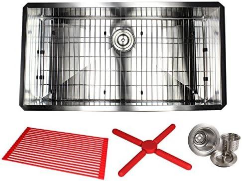 Kingsman 36 Inch Zero Radius Design 16 Gauge Undermount Single Bowl Stainless Steel Kitchen Sink Premium Package