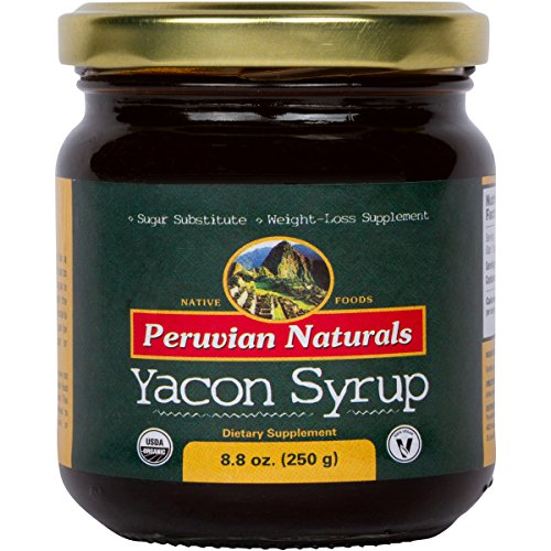 Organic Yacon Syrup 8.8oz (250g) - Peruvian Naturals | Low-Glycemic, Low-Calorie Sweetener for Weight Loss | Sugar Substitute