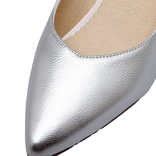 Odomolor Women's PU Pull-On Pointed Closed Toe Kitten-Heels Solid Court Shoes Silver oIXAxq