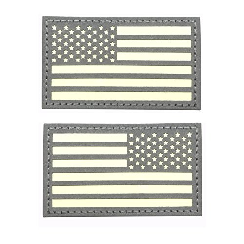 "2""x3.5"" Reflective Us USA American Flag Glow In the dark Vel"