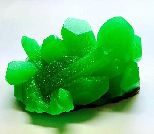 Emerald Green Geode Crystal Mineral Gemstone Rock Soap - Green Tea and Cucumber Scented - FREE - Emerald Base
