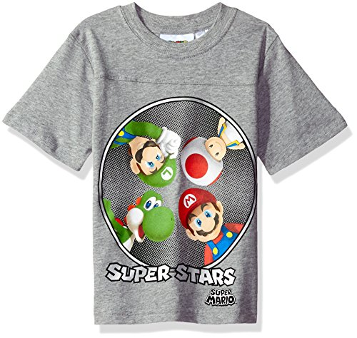 Nintendo Little Boys Super Mario Here We Go Run T-Shirt, Gray, 5/6
