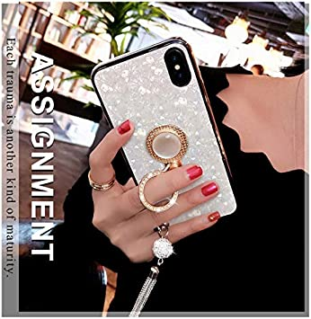 BONTOUJOUR iPhone X/iPhone XS case, Luxury Glitter Pearly-Lustre Shell Pattern Soft TPU iPhone X/iPhone XS Cover Case Sparkle Bling Crystal Back with Tassel +Pearl Diamond Ring Holder - White