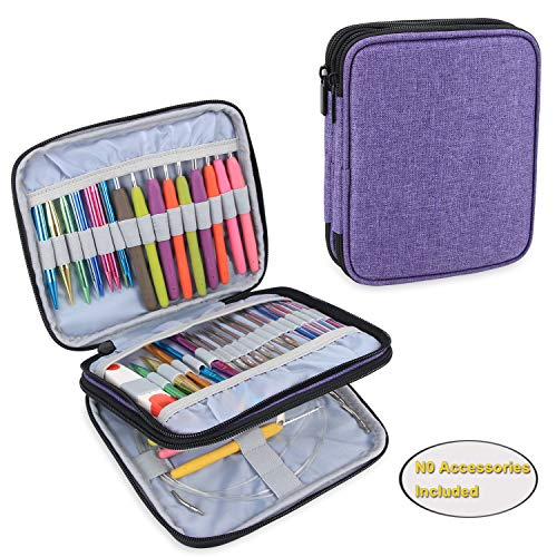 Teamoy Organizer Case for Interchangeable Circular Knitting Needles, Crochet Hooks and Knitting Accessories, Keep All in One Place and Easy to Carry, Purple (No Accessories - Knitting Crochet Needles