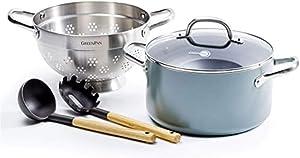 GreenPan MayFlower 100% ToxinFree Healthy Ceramic Nonstick Metal Utensil/Induction/OvenSafe Steamer/Pasta Set - 5 Pieces - Blue