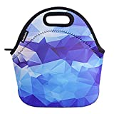 rambler lunch bag Ambielly Neoprene Lunch Bag/Lunch Box/Lunch Tote/Picnic Bags Insulated Cooler Travel Organizer (Blue Diamond)