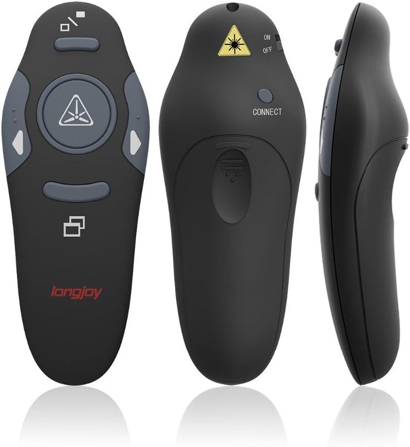 Wireless Presenter Longjoy RF 2.4GHz Laser Presenter Remote Presentation Laser Pointer USB Control PowerPoint PPT Clicker