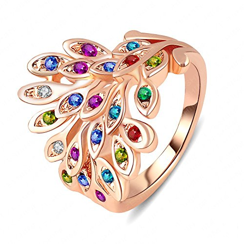- LuckyWeng Cute Peacock Animal Engagement Rings Crystal Sapphire Amethyst Emerald Ruby Kid Girl Rose Gold