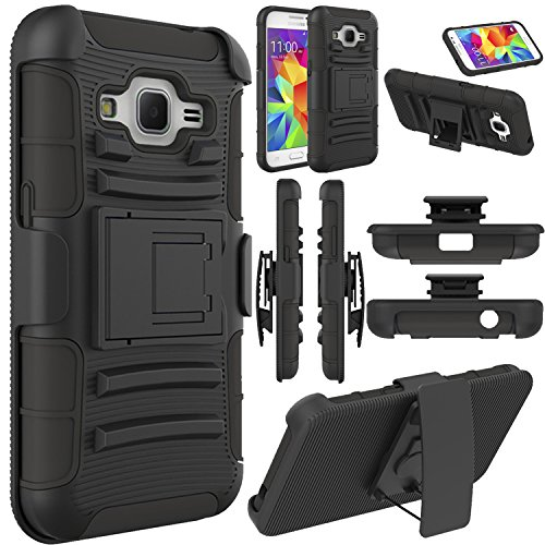 Galaxy Core Prime Case, Elegant Choise Galaxy Prevail LTE Case, Hybrid Dual Layer Armor Full Body Protective Holster Case with Kickstand and Belt Swivel Clip for Samsung Galaxy Core Prime (Black)