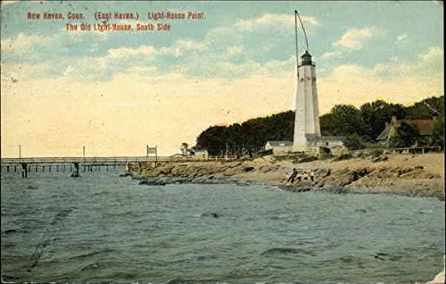 (Lighthouse Point - The Old Lighthouse, South Side New Haven, Connecticut Original Vintage Postcard)
