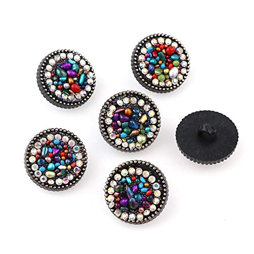 (10Pcs/Set Buttons Leopard Round Crystal Diamond Elastic Hair Rope Button Fashion Women Wild Hair Ring Ball Head Hair Accessories,20mm-1)