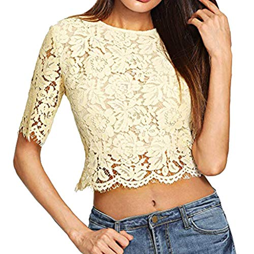(Keliay Womens Tops, Women Summer Short Sleeve Sexy Sheer Zip Up Mesh Floral Lace Crop Top Blouse)